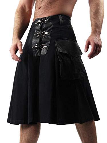Romancan Herren Scottish Kilt Combat Cosplay Punk Gothic Traditionelle Highland Leder Kosatüm mit Tasche