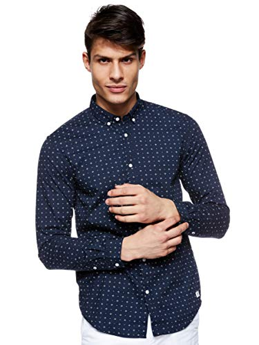 TOM TAILOR Denim Herren AOP Hemd mit Button-Down-Kragen, Blau 21709, L