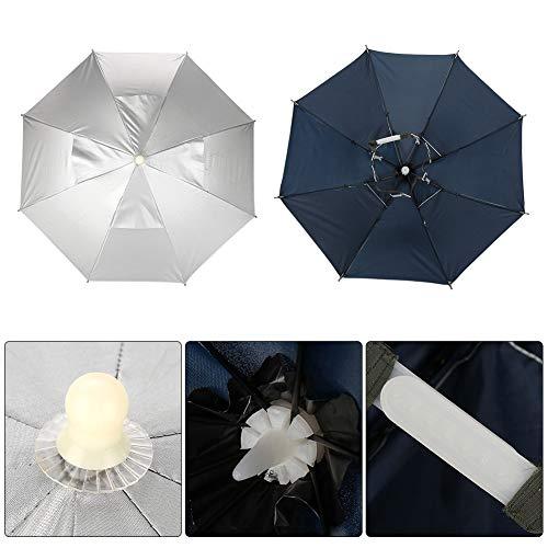 MAGT Angeln Regenschirm Hut, Multifunktions Faltbare Wasserdicht UVschutzsun Regen-Regenschirm-Hut-Kappe for den Außenbereich Angeln Camping (Farbe : Silber)