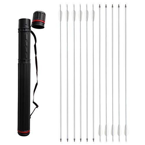 ZSHJG 12pcs Carbonpfeile für Bogenschießen 32 Zoll Jagdpfeile Spine 500 Bogenpfeile mit Pfeilköcher für Compound und Recurve Bogen Pfeile für Bogensport (Pfeile und Köcher)