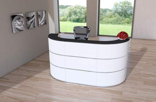 Design Rundtheke Rezeptionstheke Cento 4, 260x80cm Weiß Anthrazit