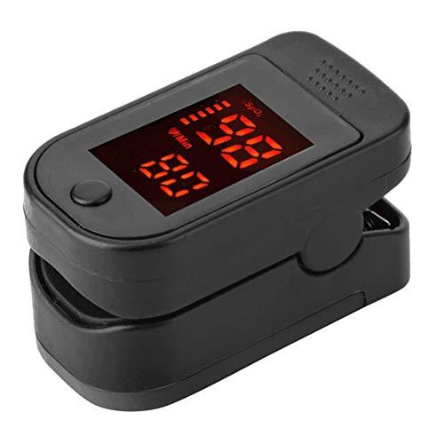 Pulsossimetro da dito Pulsossimetro, portatile LED display saturazione di ossigeno nel sangue monitor con borsa per il trasporto per bambini e adulti Taglia libera Nero