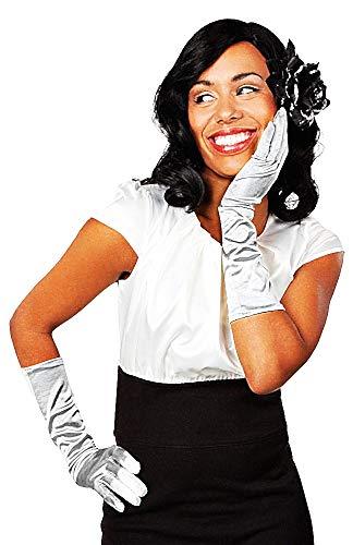 Lange handschoenen dames - vrouw 20 jaar - eenvoudig - elegant - stretch - satijn - origineel cadeau-idee - zilver