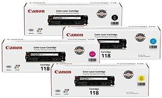 Canon 118 Toner Cartridge Bundle for imageCLASS MF8350/MF8580 Color Laser Printer / Black / Cyan / Magenta / Yellow
