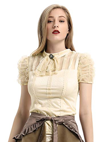 SCARLET DARKNESS dames Gothic Steampunk kant T-shirt tops Victoriaanse blouse