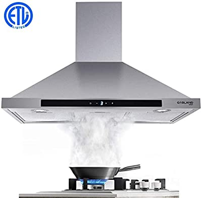 """30"""" Range Hood, GASLAND Chef PR30SS 30-inch Stainless Steel Wall Mount Kitchen Hood, 3 Speed 450-CFM Sensor Touch Control Exhaust Hood Fan, Convertible Chimney-Style, LED Lights, Aluminum Mesh Filters"""