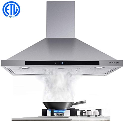 30' Range Hood, GASLAND Chef PR30SS 30-inch Stainless Steel Wall Mount Kitchen Hood, 3 Speed 450-CFM Sensor Touch Control Exhaust Hood Fan, Convertible Chimney-Style, LED Lights, Aluminum Mesh Filters
