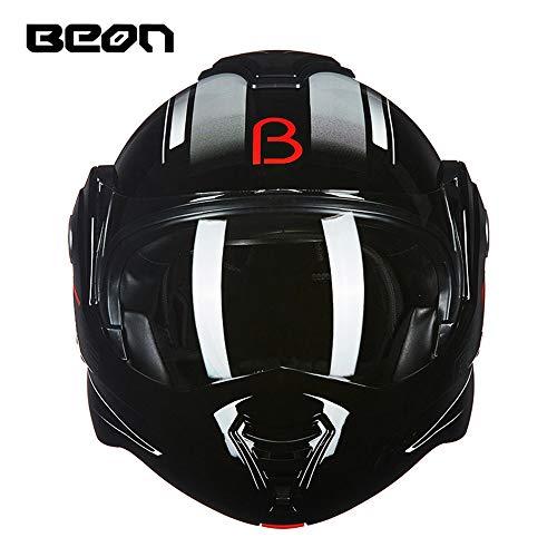 BEON Motorcycle Full-Face/Flip-Up Motorrad-Helme, ECER 22-05 zertifizierter Harley-Schwerlokomotive Helm 180 Grad hinten Uncovering Black,L57~58cm