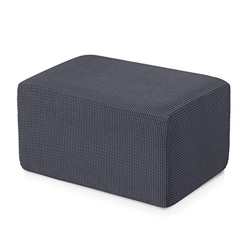 subrtex Stretch Storage Ottoman Slipcover Protector Oversize Spandex Elastic Rectangle Footstool Sofa Slip Cover for Foot Rest Stool Furniture in Living Room (XL, Gray)