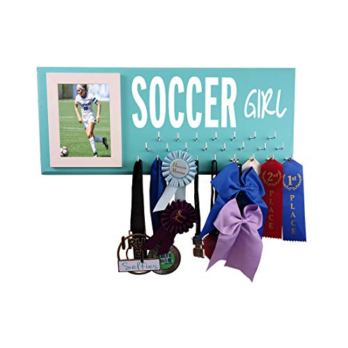 Soccer Medals Holder Rack - Display Hanger for Ribbons and Awards - The Best Accessory/Equipment Gift for Players - Soccer Girl