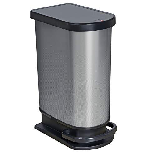 Rotho Paso Poubelle 50L avec Pédale et Couvercle à Charnière, Plastique (PP) sans BPA, Carbone Métallique, 50L (44,0 x 29,0 x 67,0 cm)