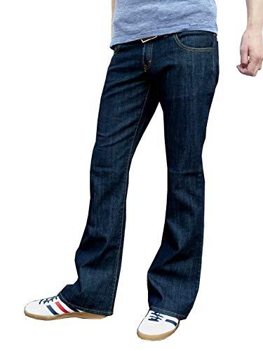 Fuzzdandy Herren Indigoblau Schlaghosen Schlaghosen Jeans Schlagjeans Indie Retro - Indigo Dunkelblau, 36 Waist 32 Leg
