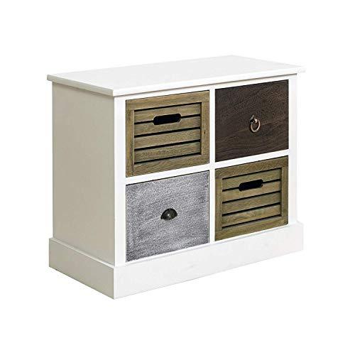 Mobili Rebecca® nachtkastje commode 4 laden hout grijs bruin country rustieke woonkamer keuken (Cod RE4162).