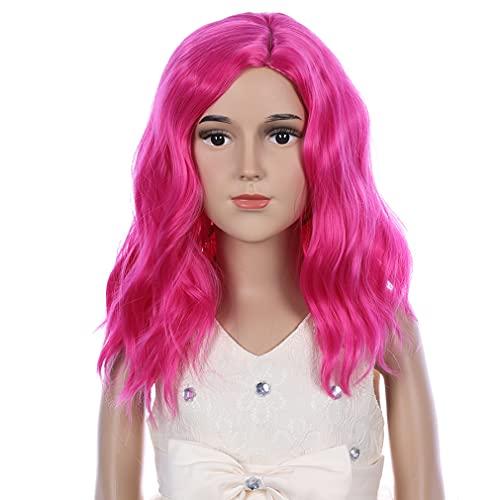 PATTNIUM Hot Pink Wig Child Kids Wig Short Wavy Wig Hot Pink Wig for...