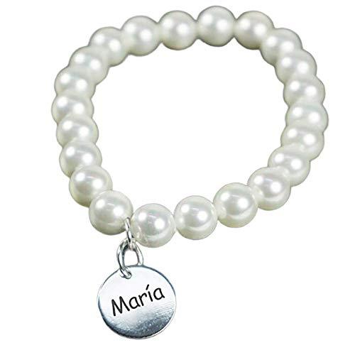 Calledelregalo Joya Personalizada para Regalar a una Mujer: Pulsera Personalizable con el Texto Que tú Quieras (Pulsera de Perlas con Medalla)