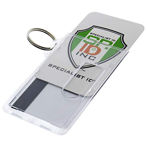 5 Pack - Heavy Duty Fuel Card/ID Badge Holders with Keyring - Holds Two Cards - Clear Rigid Plastic ID Holder Keychain - Attach Keys & Protect License and a Credit Card by Specialist ID