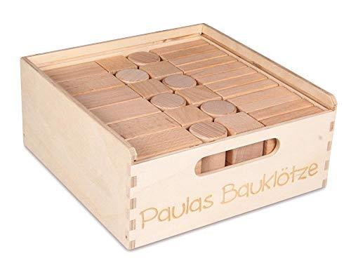 CreaBLOCKS Holzbausteine Kleinkindpaket 54 unbehandelte Bauklötze für Kleinkinder ab 6 Monaten (mit individ. Laserbeschriftung) Made in Germany