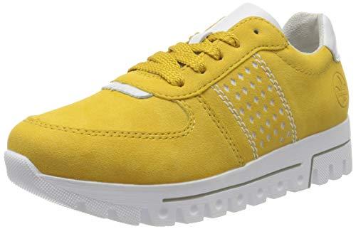 Rieker Damen Frühjahr/Sommer L2820 Slip On Sneaker, Gelb (Gelb/Weiss/ 68 68), 38 EU