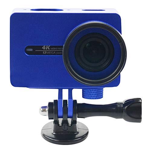 SNUIX For Xiaomi Xiaoyi Yi II Cámara de acción Deportiva Carcasa de aleación de Aluminio Funda Protectora con Tapa Protectora de Lente (Negro). (Color : Dark Blue)