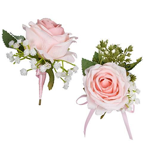 YQing 2 Piezas Boutonniere Ojales Novio Padrino de Boda El Mejor Hombre Rose Flores de Boda Accesorios Traje de Baile Decoración (Rosa Claro)