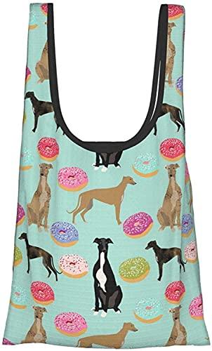 Donuts Greyhound Art Dog Blue Themed Printed Women Bolso de lona impermeable reutilizable bolsas de comestibles ecológicas grande plegable bolsa de compras resistente lavable