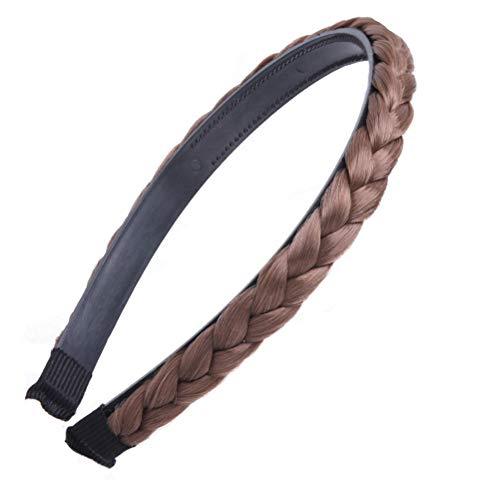 Trenza trenzado aro trenzado trenzado diadema Hair Accessioeies para mujeres niñas (café claro)