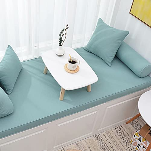 Custom Indoor Bay Window Bench Cushions 1 inch Thickness Trapezoid Seat Cushions for Living Room Bedroom Outdoor Patio Rattan Sofas Chairs Grey Blue