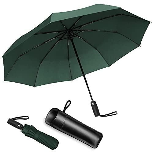 Bigmeda Paraguas Plegable Automático Impermeable Paraguas con 9 Armazones de Metal Paraguas Fácil de Transportar y Asa Antideslizante Viaje para Mujer y Hombre Paraguas (Oliva)