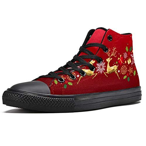 Anmarco Weihnachtliche goldene Rentier-Karte, hohe Sneakers, modische Schnürschuhe, Segeltuchschuhe, lässig, für Herren, Teenager, Jungen, Mehrfarbig - mehrfarbig - Größe: 42 1/3 EU