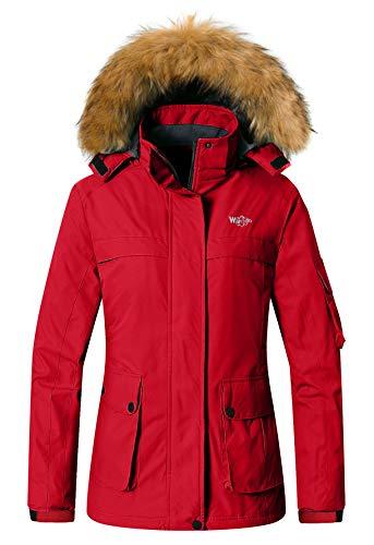 Wantdo Women's Warm Skiing Jacket Raincoat Waterproof Snowboard Winter Coats Red XL