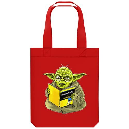 OKIWOKI Star Wars Lustiges Shipper aus Bio-Baumwolle - Yoda - Grammatik für Dummies (Star Wars Parodie signiert Hochwertiges Tote Bag - Ref : 707)