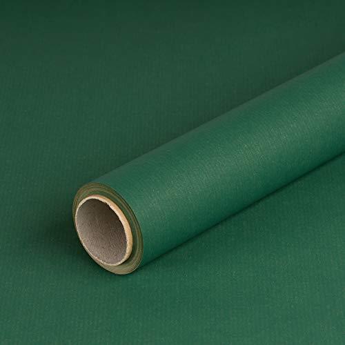 Geschenkpapier Dunkel-Grün, Kraftpapier, gerippt, 60 g/m², Geburtstagspapier, Weihnachtspapier - 1 Rolle 0,7 x 10 m
