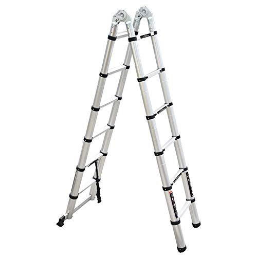 Telescopisch uitschuifbare ladder Met Antislip steun Bar, Portable Folding Multi-Purpose Uitbreiding Ladder, Supports 150kg (330lb) (Maat: 14.44ft / 4.4m = 2,2 m + 2,2 m) 8bayfa