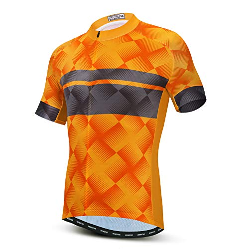 Men's Cycling Jersey Short Sleeve Road Bike Biking Shirt Bicycle Clothes Breathable and Quick-Dry Orange Size L