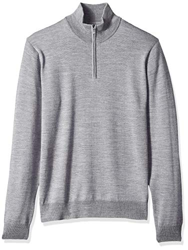 Amazon Brand - Goodthreads Men's Lightweight Merino Wool Quarter Zip Sweater, Heather Grey, XXX-Large Tall