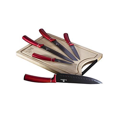 BERLINGER HAUS - Juego de 6 cuchillos con tabla de cortar de bambú, color burdeos