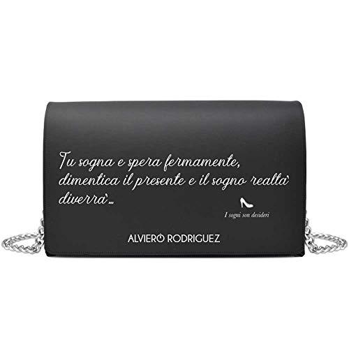 Alviero Rodriguez Borsa catena pelle borsa a spalla nera bottone magnetico sogni borsa I sogni son desideri