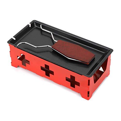 ZYXZXC Mini Antihaft KäSe Rotaster,Mini-Grill-Set,Kommt Mit Kerzen,Mit Silikonspatel Zum Schmelzen Von KäSe,Schokolade,Leicht Zu Tragen,Rot