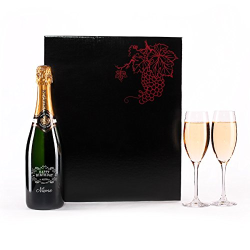 Herz & Heim® Champagner Set zum Geburtstag mit Gravur der Flasche u. 2 Champagnergläser