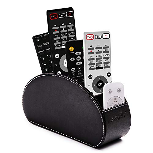Remote Control Holder Organizer Box with 5 compartment PU Leather Multifunctional Office Organization And storage Caddy Store tv remote holders ,brush ,pencil,glasses an Media Player Black