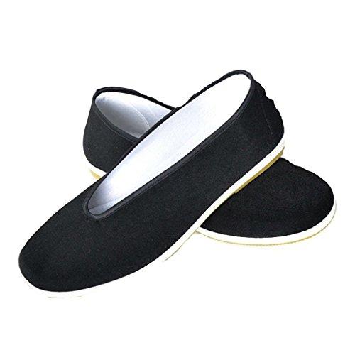 Zapatos de Kung Fu para Hombres, Color Sólido Zapatos de Artes Marciales Zapatos de Tai Chi Zapatos Suela de Goma Negro