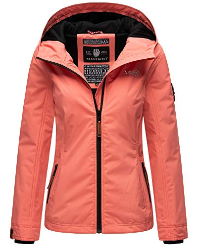 MARIKOO Damen Übergangsjacke Outdoor Windbreaker Regenjacke Fleece Jacke Gefüttert Kapuze XS - XXL BROMBEERE (Coral, S)