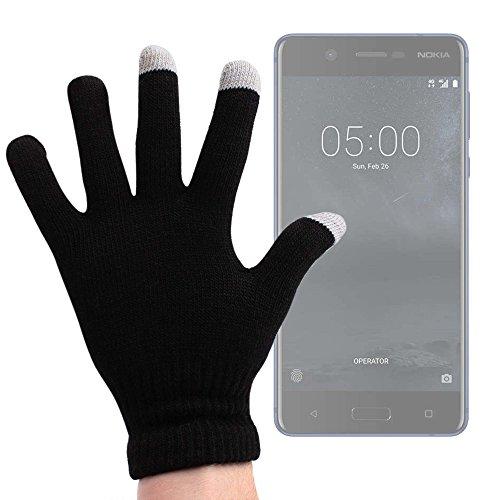DURAGADGET Guantes Negros para Pantalla Táctil para Smartphone Nokia 8, Nokia 5, Nokia 3 / Doogie Y6, X9 Pro, X5 MAX Pro, Doogie F7 - Talla Mediana - ¡Ideales para El Invierno!