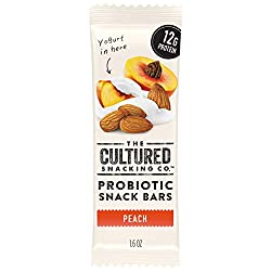 The Cultured Snacking Co. Probiotic Fridge-Ready Snack Bar, Peach, 12 Grams Protein, Gluten-Free, 1.