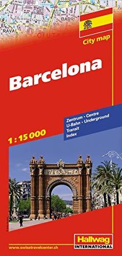 Barcelona Stadtplan 1:15 000: Zentrum, U-Bahn, Transit, Index (Hallwag Stadtpläne)
