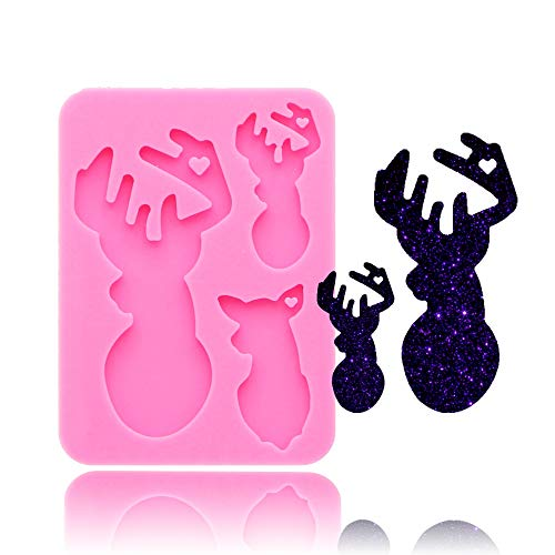 Elk Family Dad Mother Baby Wapiti Animal Keyring Tag Keychain Silicone Mold with Hole DIY Crystal Jelly Shots Ice Cream Desserts Candy Fondant Mold Pudding Cupcake Cake Topper Decoration Gum Paste