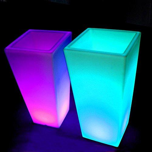Wmshpeds Pot Mode Pot de Fleur côté Lumineux LED mobilier Lumineux extérieur mobilier Lumineux