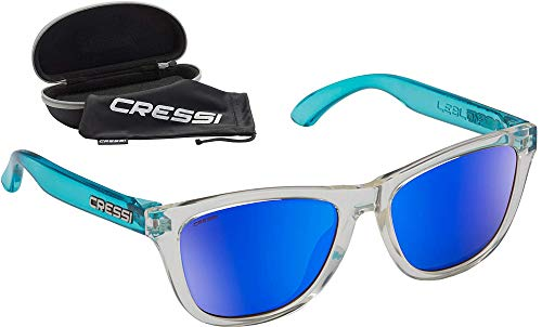 Cressi Leblon Sunglasses Gafas de Sol Deportivas con Estuche Rígido, Adultos Unisex, Hielo/Azul Crystal-Lentes Espejadas Azul, Un Tamaño