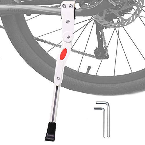 """Hoxsury Cavalletto Bici Cavalletto Regolabile per Bicicletta, Cavaletto Laterale in Alluminio con Il Piedino Gomma Antiscivolo per 24""""-28"""" Mountain Bike, Bici da Strada, MTB Bici Nero/Bianco (Bianco)"""