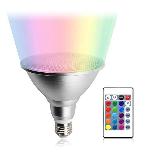 Luxvista PAR38 20W LED Lampe RGB Birne Dimmbar Reflektorlampe Wasserdicht IP65 Spotlicht 120° Abstrahlwinkel Aluminium Glühbirne Farbwechsel Leuchtmittel mit Fernbedienung(1 Stück)
